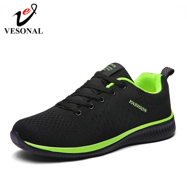 VESONAL Brand 2019 Autumn Mesh Flyknit Sneakers Men Shoes Casual Lightweight Breathable Comfortable Walking Shoes Male Footwear