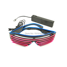 17 Style 2-Color EL Wire Light up LED Strip Shutter Glasses Neon light made glasses For Party Christmas Festival Decoration