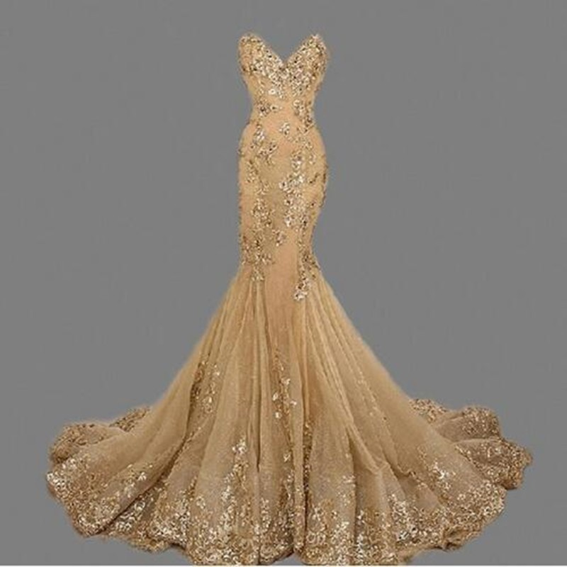 Robe de soiree Gold Mermaid Evening Dress vestido de festa Custom Made Sweetheart Mermaid Long Evening