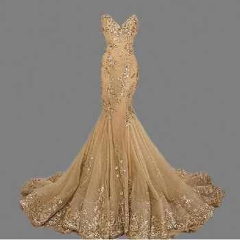 Robe de soiree Gold Mermaid Evening Dress vestido de festa Custom Made Sweetheart Mermaid Long Evening Dresses Sexy Bride Gown - DISCOUNT ITEM  39% OFF All Category