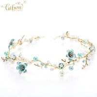 Chica azul flor diadema nupcial perla centrado flor azul pelo vine boda dulce tocado Bobby Bisutería para pelo accesorio