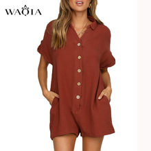 WAQIA Plus Size 2XL Summer Short Sleeve Playsuit Women Rompers Casual Button Up Pockets Tube Loose Wide Leg Sexy Jumpsuit Shorts(China)