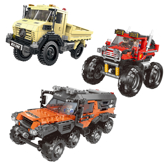 500+pcs Car Series All Terrain Vehicle Set Building Blocks Model Bricks Toys For Kids Educational Gifts Compatible Legoing