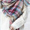 Осень зима симпатичные кисти площадь шарф платок шерстяной плед мода толщиной согреться длинные шали F016