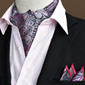 Mens Polyester Bufandas Cachecol 15 Colors Printed Party Cravat Ascot Ties Gentlemen Handkerchief for Husband Gift