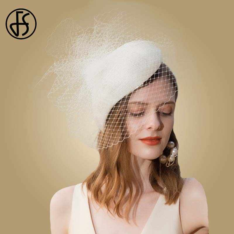 FS Beige White Sinamay Derby Hats Fascinators For Women Elegant Pillbox Weddings Hat Veil Fedoras Vintage Black Church Lady Hats