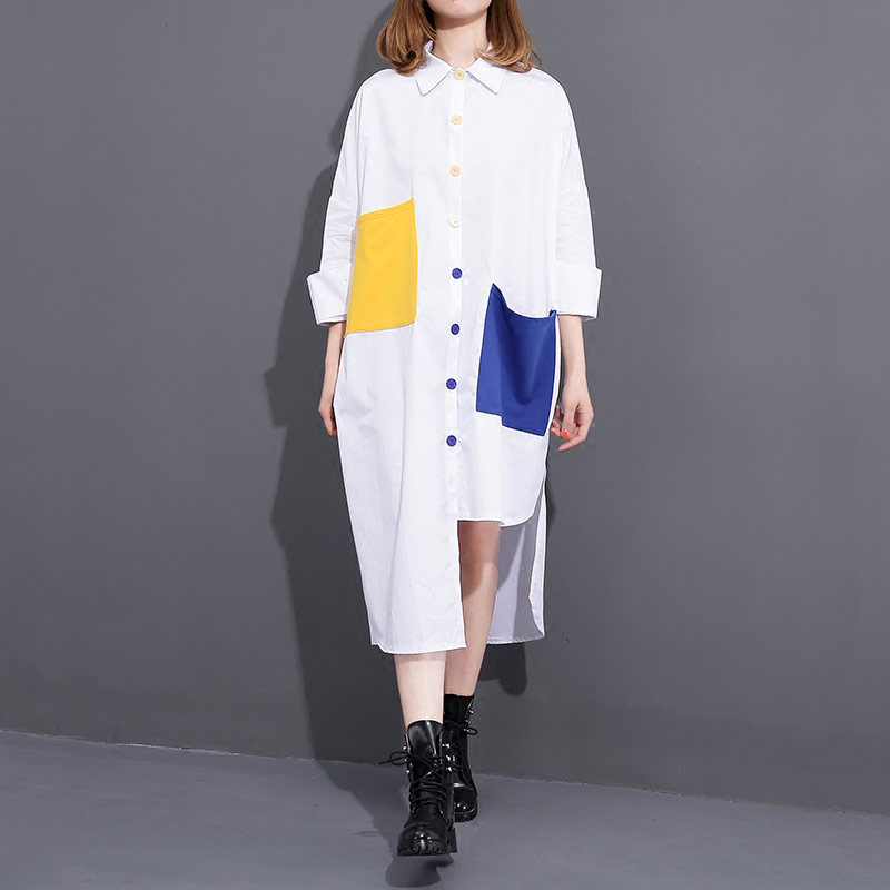 BringBring 2017 Summer Loose Shirt For Women Oversize Long White Blouse with big Pockets 1857 Блузка