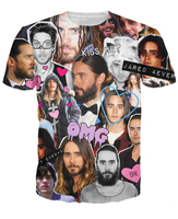 New Arrive Fashion Clothing Summer Style Jared Leto Collage T-Shirt Awesome Kiss Clown 3D T Shirt For Women Men