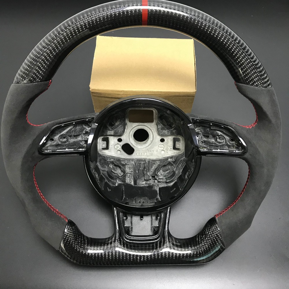 Carbon Fiber Steering Wheel For AUDI A3 A4 A5 A6 A7 S3 S4 S5 S6 S7 2013 2014 2015 2016 Replacement