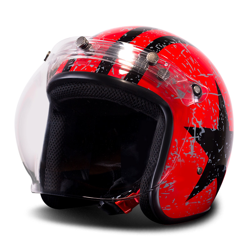 BYE casque de Moto Moto rétro Vintage casque de Moto Cruiser Chopper Scooter 3/4 casque visage ouvert avec visière à bulles