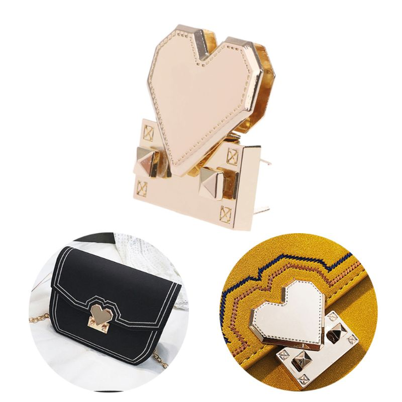 Fashion New 1 Pc Heart Shape Metal Clasp Turn Twist Lock For DIY Handbag Craft Shoulder Crossbody Bag Purse Hardware Accessories