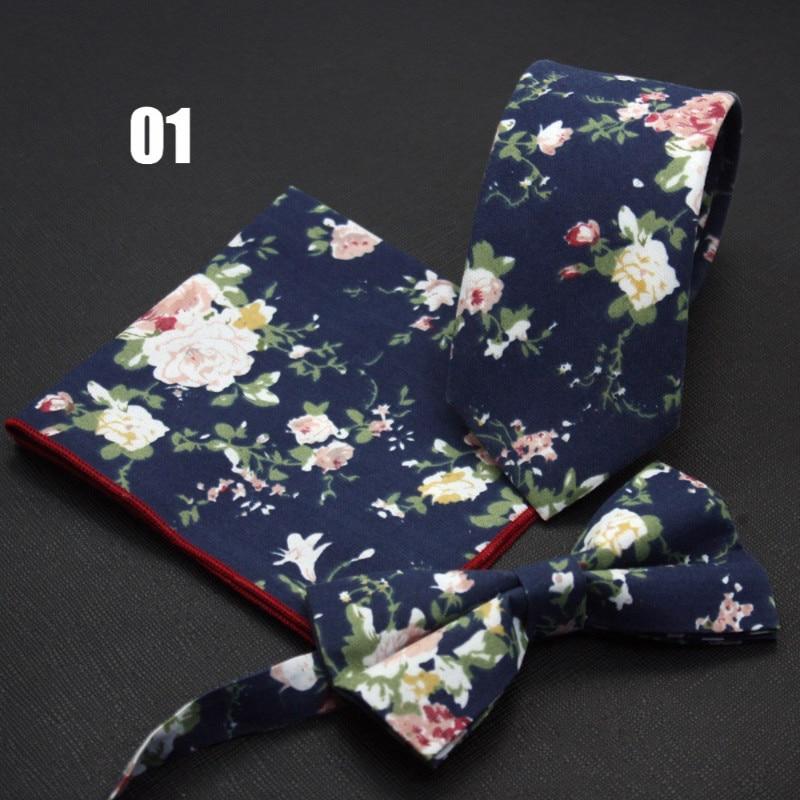 Ricnais Pánská Slim Bowtie kapesní kravata sady 6cm bavlna květinové luk vázanky kapesní náměstí tisk kravata sada pro muže svatba