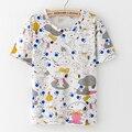 Новые поступления Мода собака печати футболка Женщин 2016 Летом Случайные Harajuku Коротким рукавом ти Топы О-Образным Вырезом Женщин Футболки