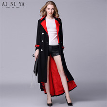 fe74f88415d auguswu 2018 50% Polyester Autumn Winter Double Breasted Black Red Long  Wool Coat