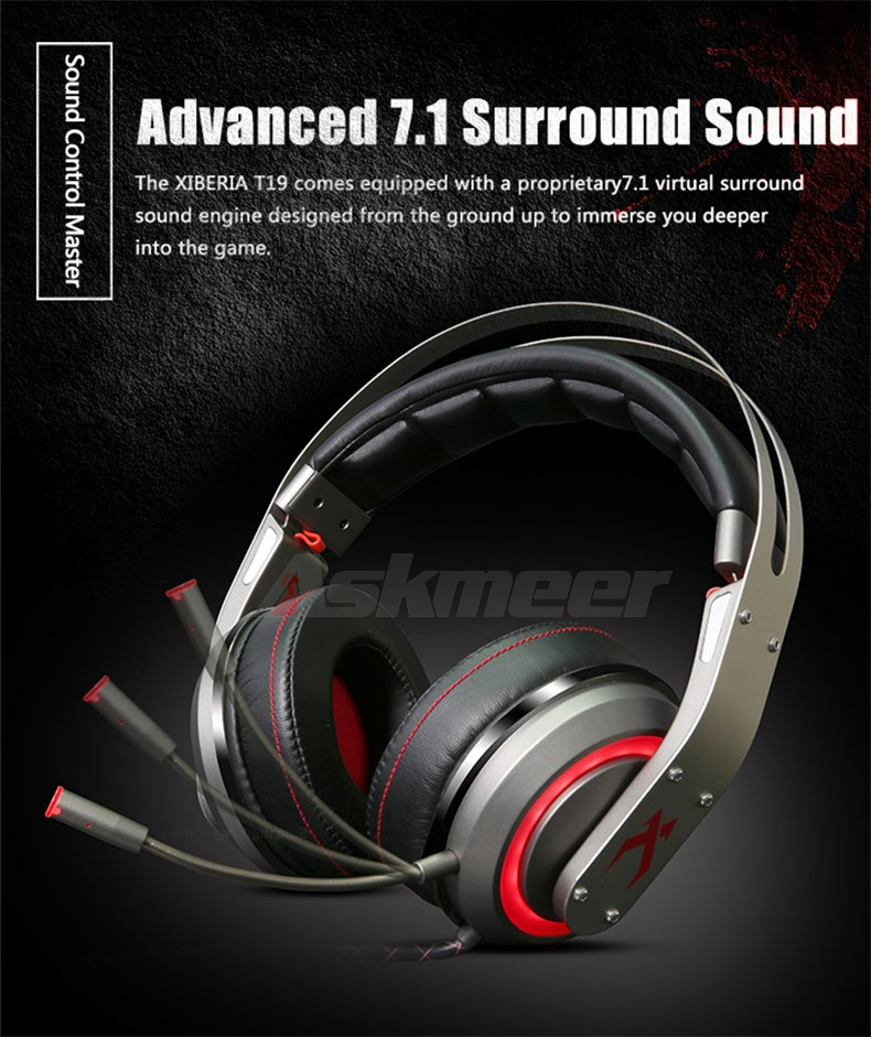 USB Gaming Headphones with Micrphone 7.1 Surround Sound Stereo Glowing Headset (2)