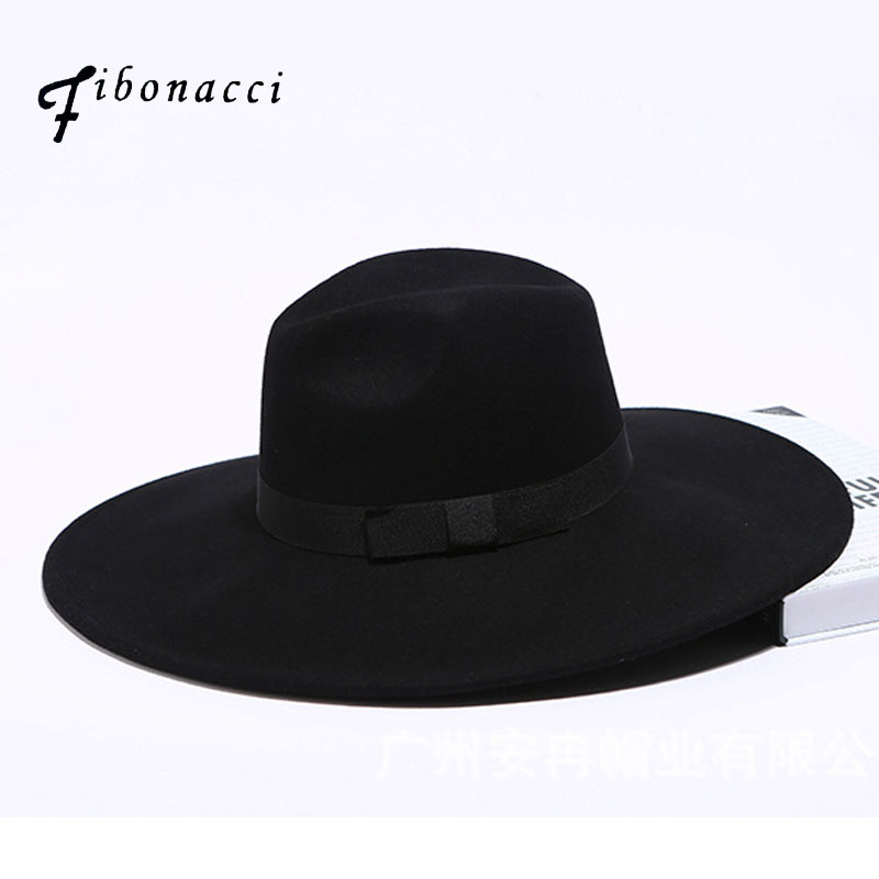 Fibonacci 12cm Large Brim Fedora Men Women Fashion Jazz Hat Autumn Winter Trilby Wool Felt Hats