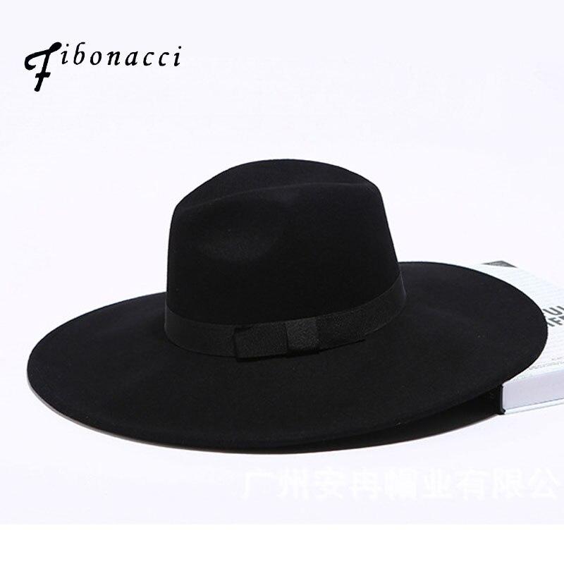 Fibonacci 12 cm Large bord Fedora hommes femmes mode Jazz chapeau automne hiver Trilby laine feutre chapeaux pour femmes chapeau juif