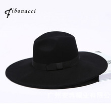 Fibonacci 12cm Large Brim Fedora Men Women Fashion Jazz Hat Autumn Winter Trilby Wool Felt Hats for Women Jewish Hat