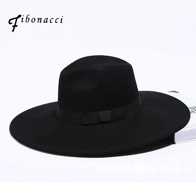 d306e440932 Fibonacci 12cm Large Brim Fedora Men Women Fashion Jazz Hat Autumn Winter  Trilby Wool Felt Hats for Women Jewish Hat