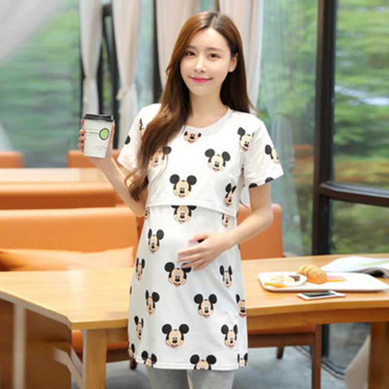 Nursing Tees Nursing Clothes Breastfeeding Tops Clothing Long Cartoon Maternity T-shirts for Pregnant Women Nursing Top Shirt