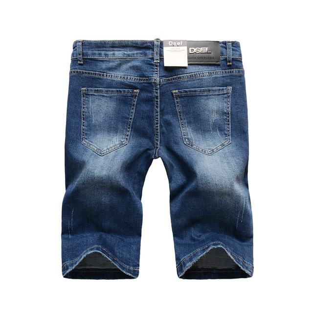 Italian Style Fashion Men's Jeans Shorts DSEL Blue Color Slim Fit Stretch Cotton Elastic Ripped Short