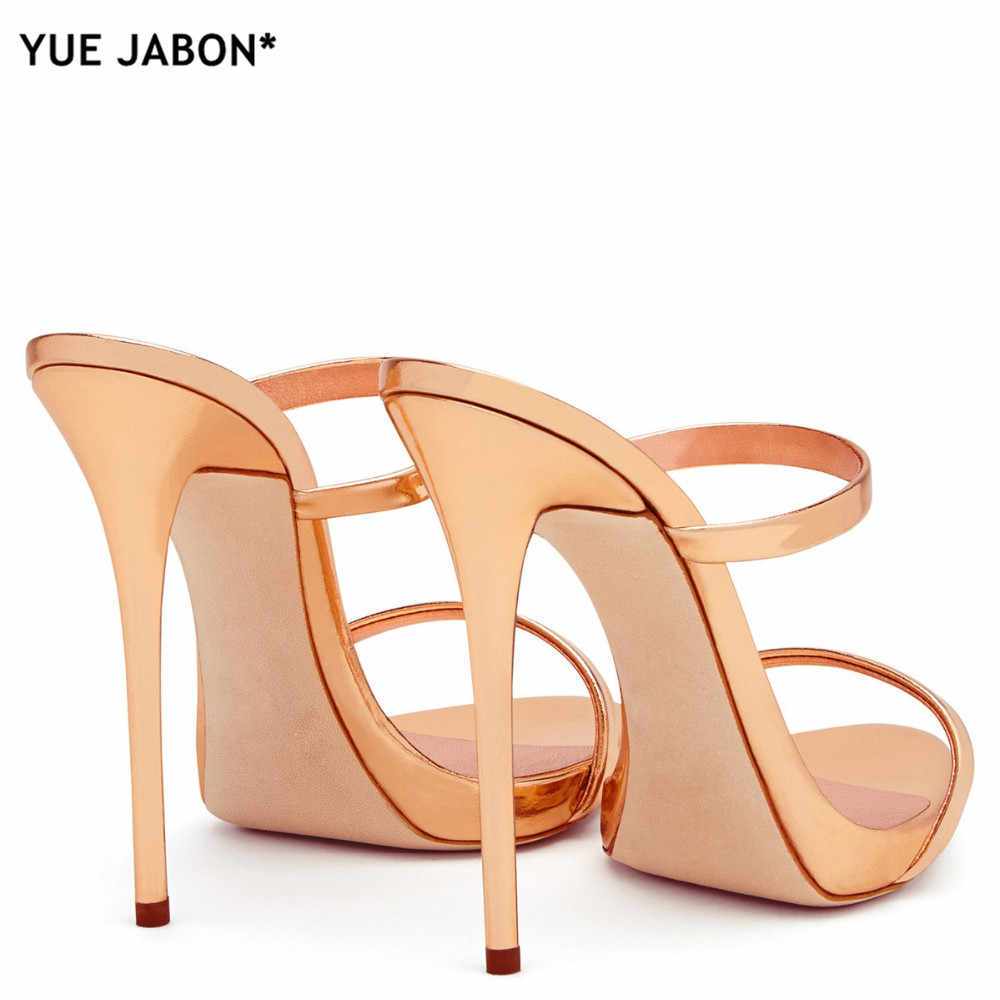 d23bc18069fb47 ... 2018 Women Two Straps High Heels Rose Gold Patent Leather Strappy  Sandals Ladies Cute Slippers Sexy ...