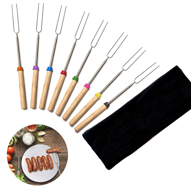 Roasting Sticks Extending Roaster Set of 8 Telescoping Smores Skewers & Hot Dog BBQ Forks Camping Cookware Campfire Newest 2018