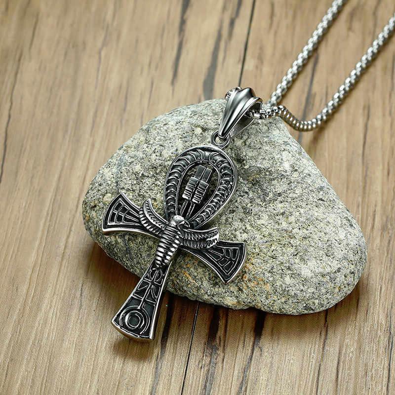 Meaeguet punk rua chave para a vida egito cruz colares para homens idade média totem aço inoxidável scarab ankh pingente jóias