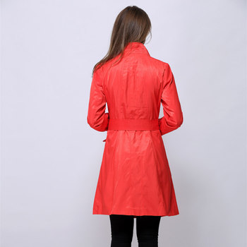 2018 Fashion women's medium-long intellectuality slim outerwear double layer chromophous preppystyle trench Red, orange v504 6