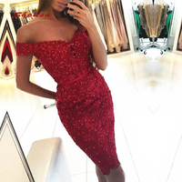 Short Red Lace Cocktail Dresses Party Off Shoulder Sequin Graduation Women Prom Plus Size Coctail Mini Semi Formal Dresses