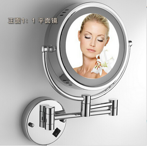Hot Sale Bathroom Chrome Wall Mounted 8 inch Brass 3X/1X Bath Led Mirror Folding Makeup Mirror Cosmetic Mirror Lady Gift fashionable design hot sale bathroom makeup mirror multiple colors wall mounted