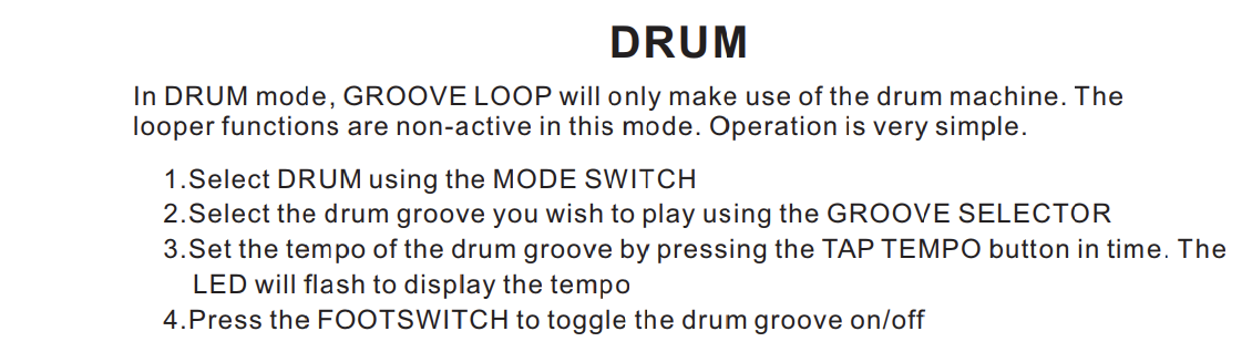 Mooer Groove loop Guitar Effects Pedal Looper Pedal 20 minutes Recording  Time with Drum Patterns unlimited recording round