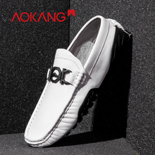AOKANG 2019 Spring Loafers Men Casual Shoes Men Genuine Leather Light Youth Shoes Men  Breathable Fashion Flat Footwear