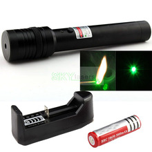 Promo offer Flashlight style Green Laser Pointer adjustable Focusable burn match +4000Mah 18650 Battery + charger ,Free Shipping