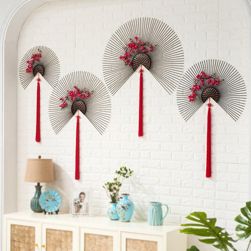 Decoración de pared de ventilador rojo de hierro forjado moderno colgante de pared de pasillo de Hotel decoración de pared Mural adornos artesanías hogar sala de estar