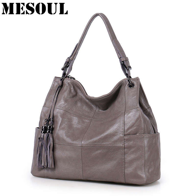 MESOUL Natural Genuine Leather Bag Handbags Women Casual Bags Tassel Stitching Large Capacity Portable Shoulder Bags Ladies Tote chispaulo women genuine leather handbags cowhide patent famous brands designer handbags high quality tote bag bolsa tassel c165