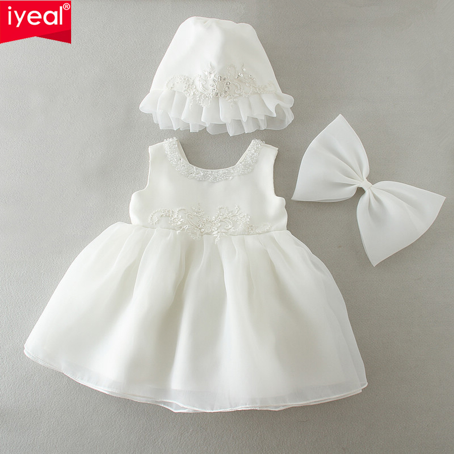IYEAL Newborn Baby Girl Dress with Hat Bow Round Beading O-neck Christening Gowns 1 Year Birthday Dresses vestido infantil