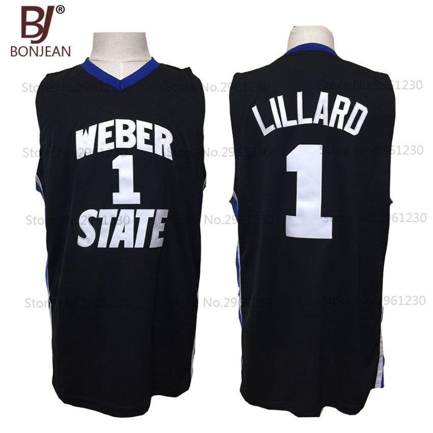 051245b1da4 ... vintage get 2017 new cheap throwback basketball jersey damian lillard 1  weber state college basket jerseys black official store top usc trojans 24  brian ...