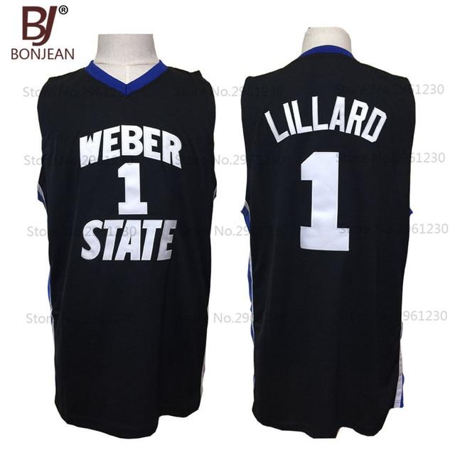 741913015d1 order 2017 new cheap throwback basketball jersey damian lillard 1 weber  state college basket jerseys black
