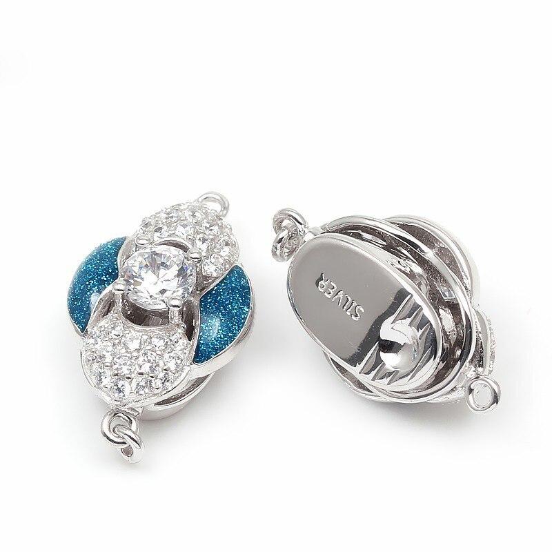 Hot violet et bleu émail Zircon Pave solide en argent Sterling boîte fermoirs crochets bijoux accessoires pour collier de perles SC-BC222 - 3