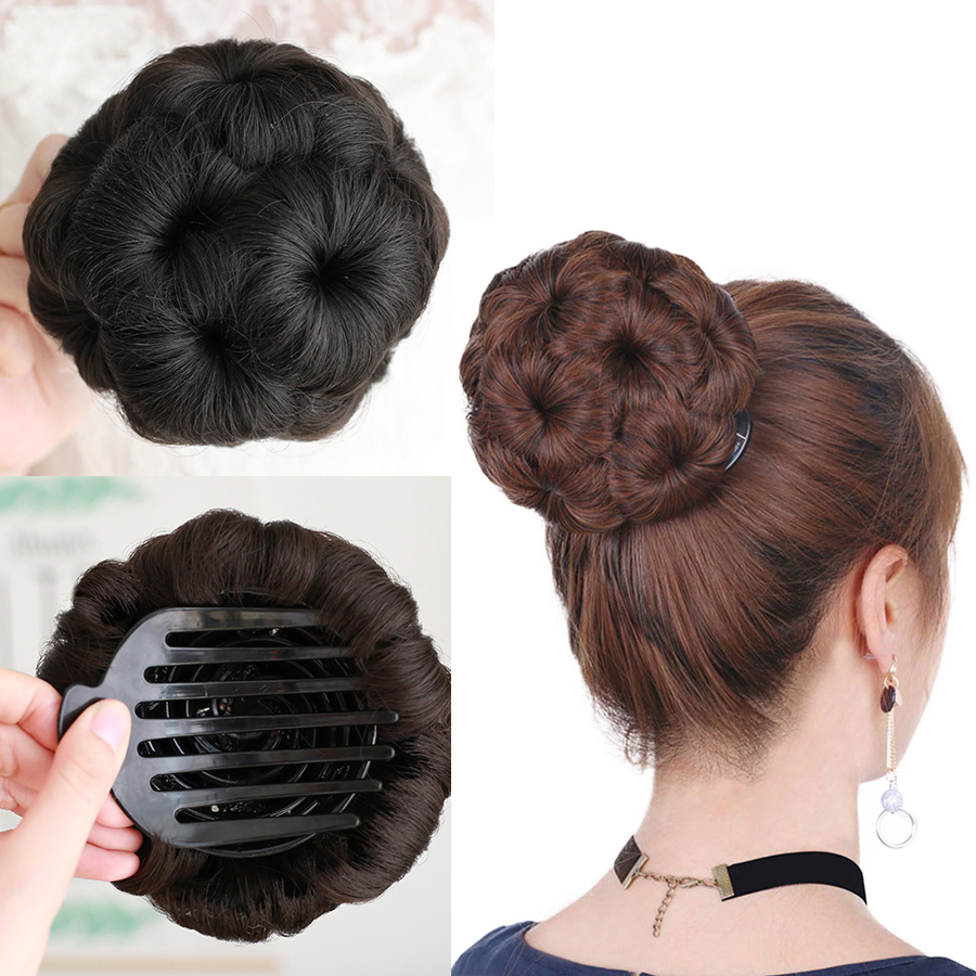 buqi ponytail hair piece synthetic clip in elastic fake 9color flowers claw curly chignon bride hair for adult women