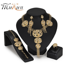 купить MUKUN Wholesale African beads jewelry set Brand Dubai gold-color Crystal Jewelry sets Fashion Nigerian Bridal Wedding Jewelry в интернет-магазине