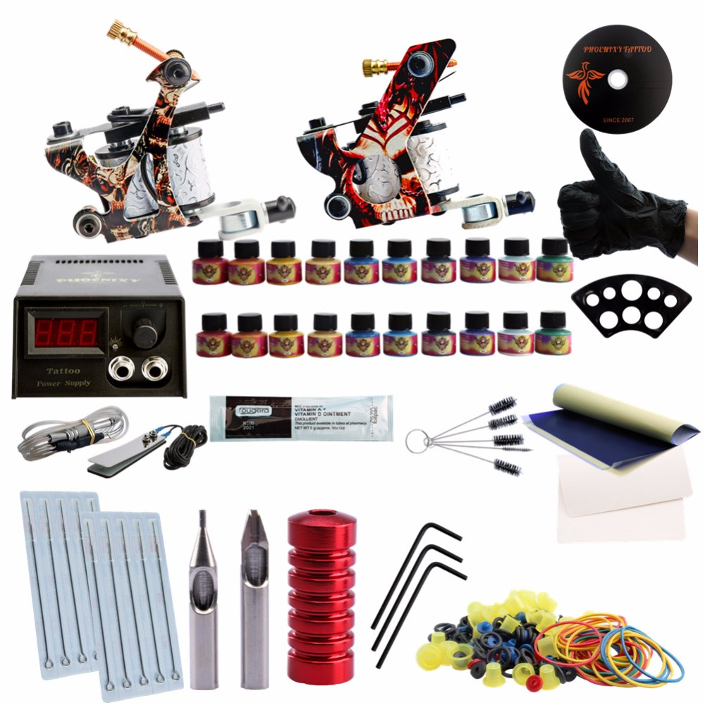 Professional Tattoo Kit 2 Guns Machines LCD Power Supply Complete Tattoo kits Toolbox 8 Wrap Coils Guns Machine Cheap Tattoo Kit professional tattoo kit 5 guns complete machine equipment sets teaching cd ink for beginners body art beauty tools tk 2509 m
