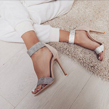 Boussac Luxury Rhinestone Women Sandals Sexy Bling Crystal High Heel Women Sandals Elegant Party Shoes Women SWC0234