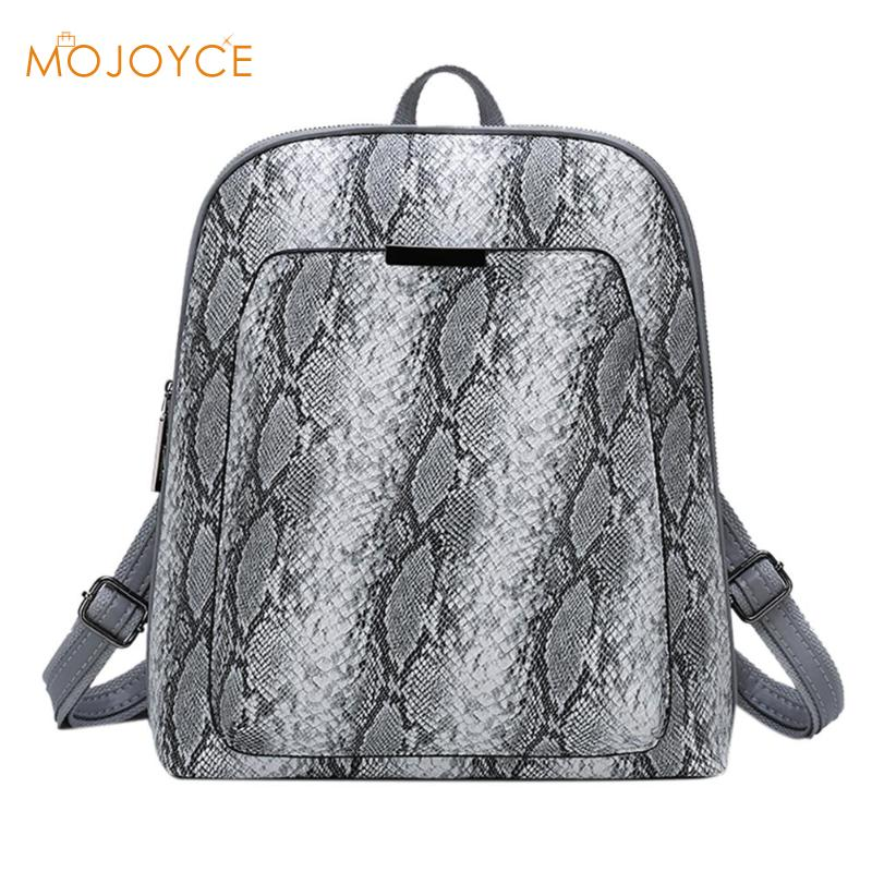 Leather Snake Print Women Backpack Girls Travel School Bag Pouch Rucksack Female School Backpacks School Bags Small Knapsack