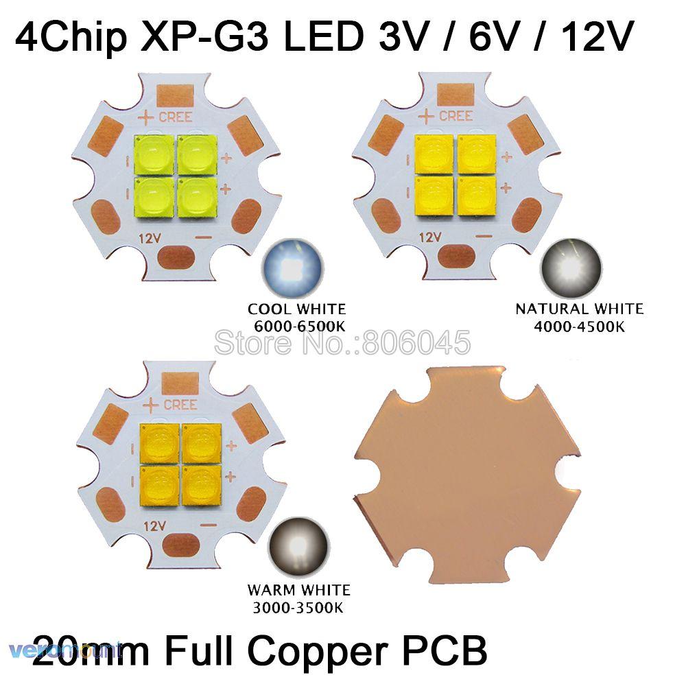 Cree XPG3 XP-G3 3V 6V 12V 4Chips 4-24W High Power LED Emitter Cool White / Warm White / Neutral White Colors on 20mm Copper PCB 3v 7v 14v epileds 3535 4chips 4leds 12w high power led emitter uv ultraviolet 365nm 380nm 395nm 420nm 20mm copper pcb