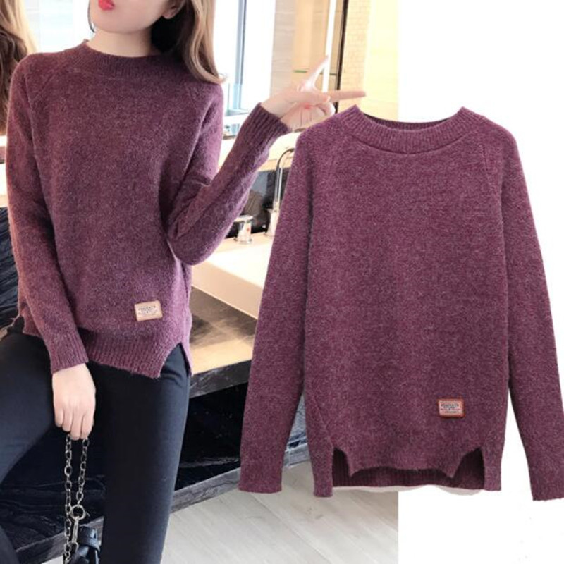 Pullover Sweater Short Long-Sleeve Loose Round-Neck Female Autumn Winter Fashionable