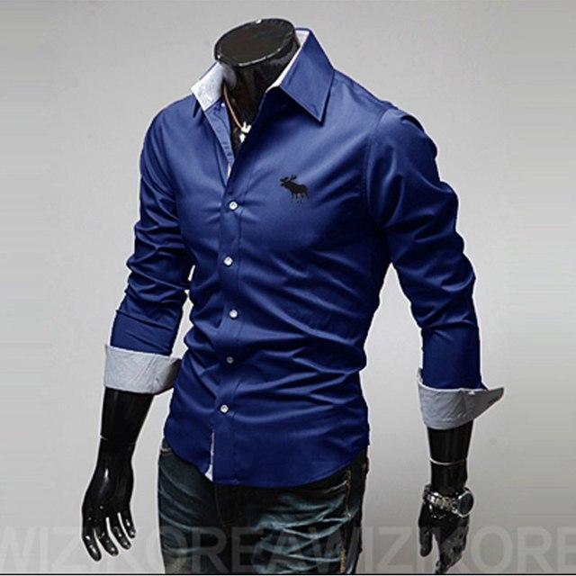 d28632121 New Fashion Mens Clothing Classic Elk embroidery Shirt Men Slim Fit Luxury  Shirt Cotton Mens Shirts Casual Slim Fit