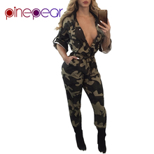 83953bd6bdea PinePear Military Camouflage Jumpsuit 2019 NEW Winter Fashion Women 3 4  Sleeve Button Deep V