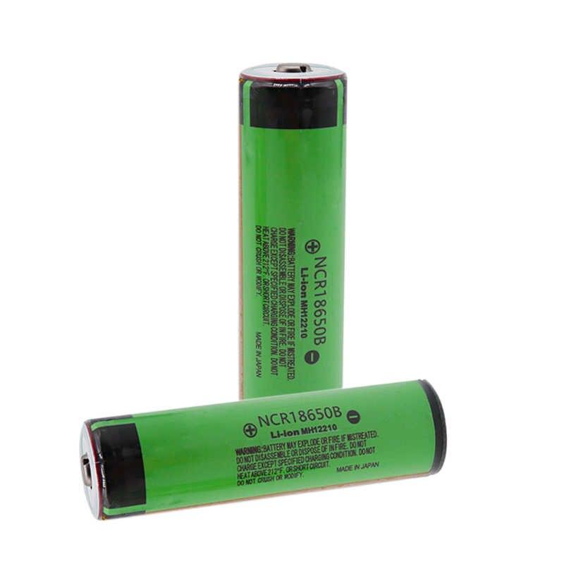 100% ncr18650b 3.7 v 18650 bateria 3400 mah bateria recarregável li-ion baterias para lanterna com proteção (pcb)